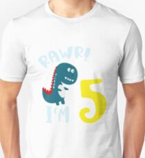 I'm 5 Birthday Party Cute Dino Design T-Shirt