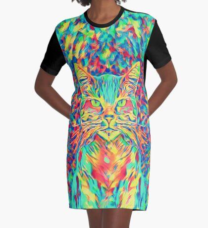 Color Cat Graphic T-Shirt Dress