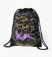 Books Fall Open, You Fall In Drawstring Bag