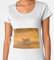 Single Mute Swan (Cynus olor) on orange golden pond at sunrise Women's Premium T-Shirt