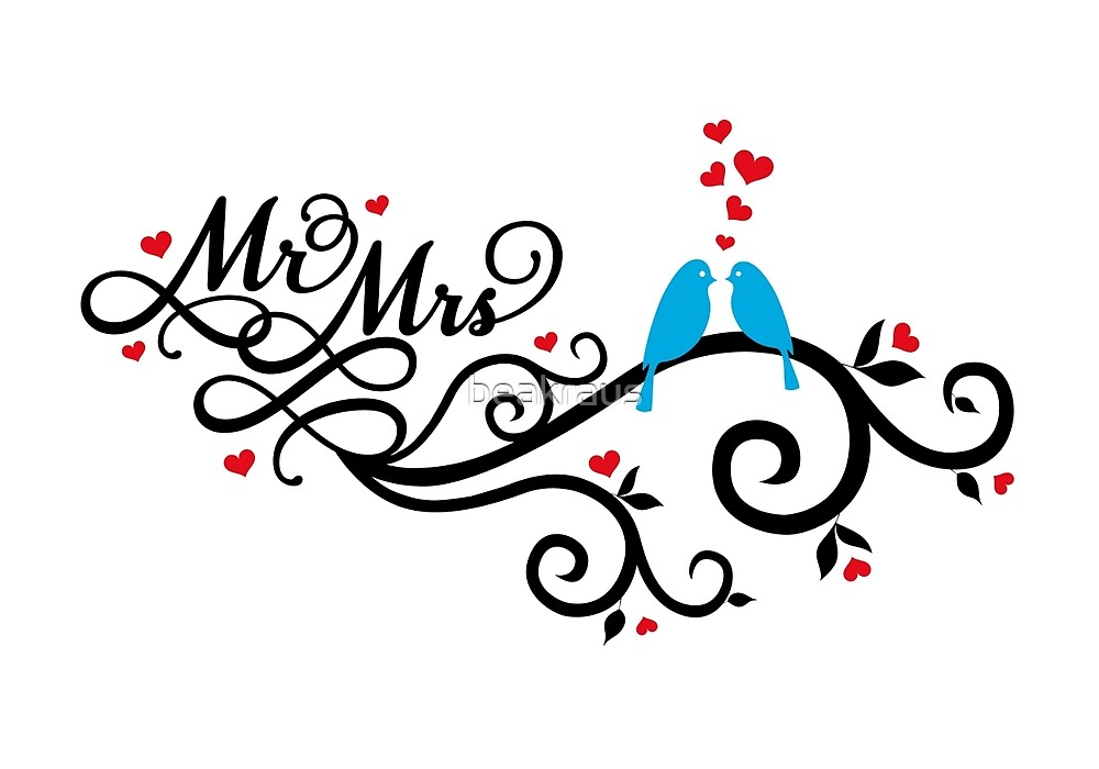 Mr. and Mrs. wedding invitation with blue love birds\