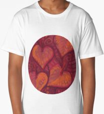 Hearty Flowers, floral hearts, pink, red & orange Long T-Shirt