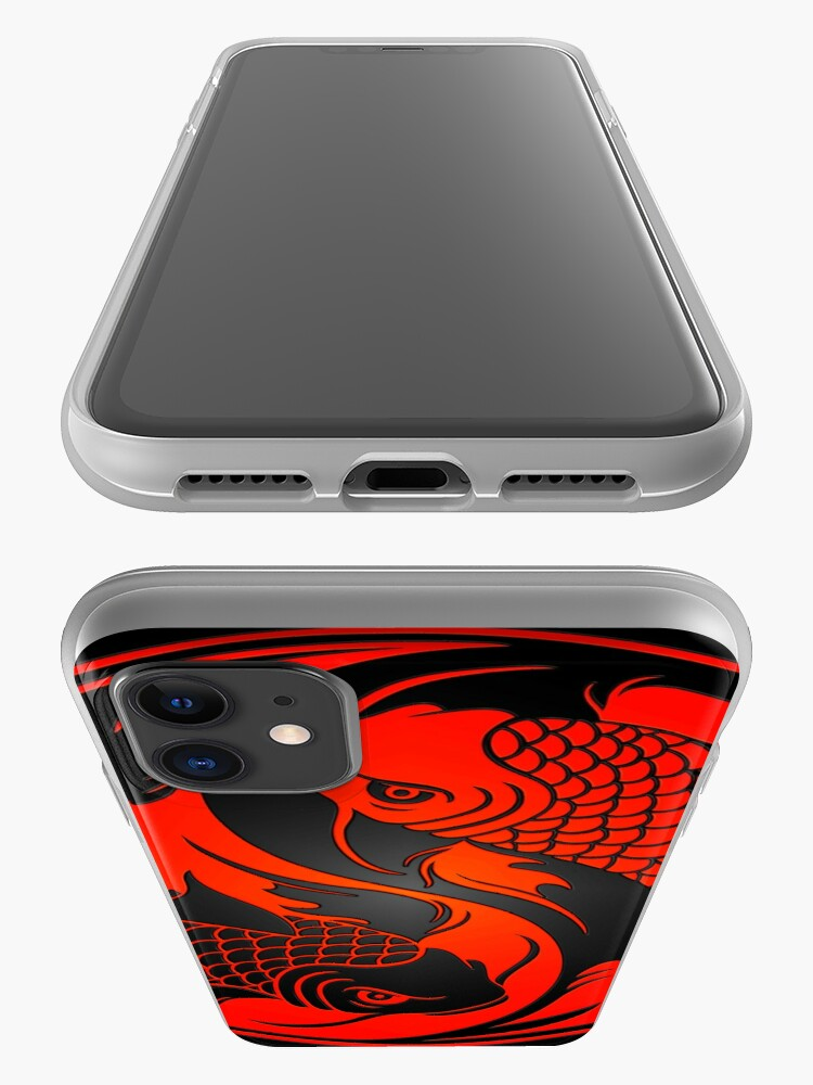 Alternate view of Red and Black Yin Yang Koi Fish iPhone Case & Cover