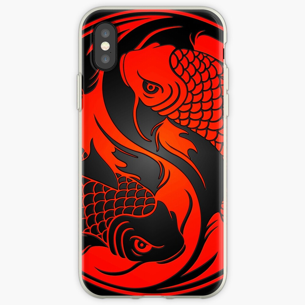 Red and Black Yin Yang Koi Fish iPhone Case & Cover