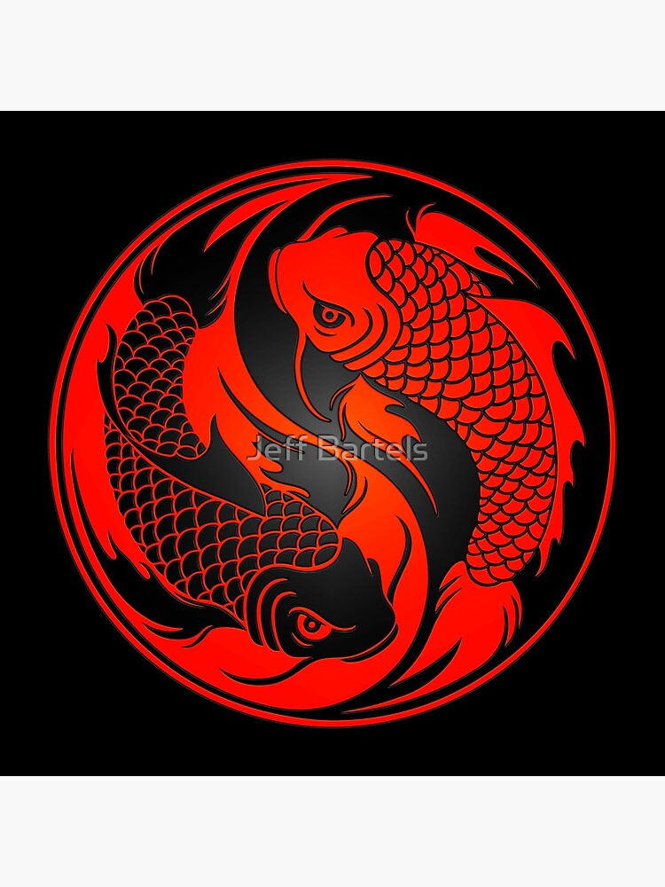 Red and Black Yin Yang Koi Fish by JeffBartels