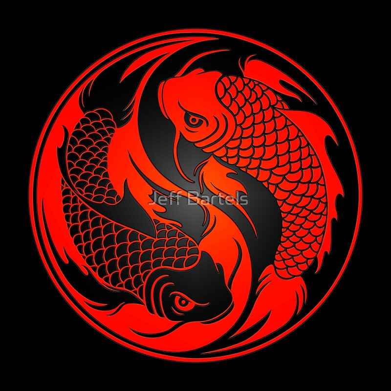 Quot Red And Black Yin Yang Koi Fish Quot Canvas Prints By Jeff