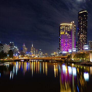 The Yarra River and Crown Towers by moonlight by andiemeganb