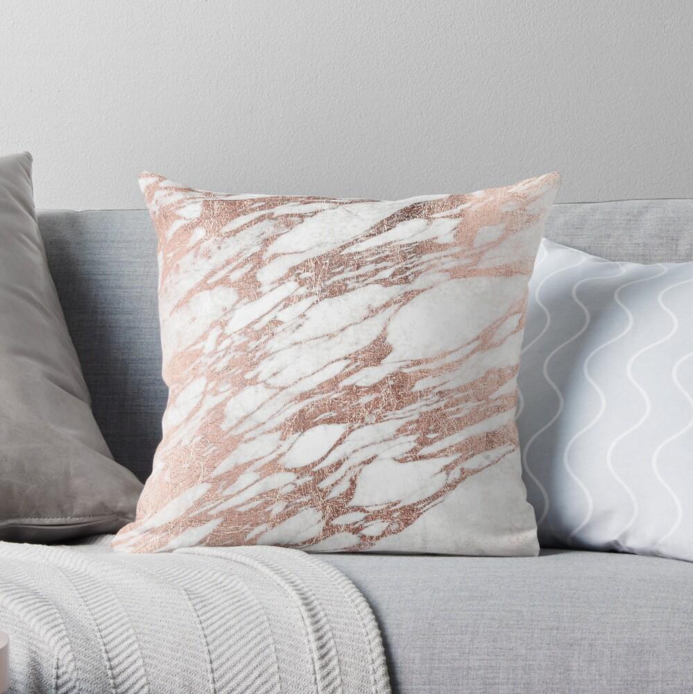 Chic elegante blanco y rosa de oro de mármol patrón Cojín