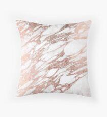 Cojín Chic elegante blanco y rosa de oro de mármol patrón