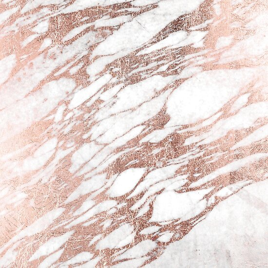 chic elegant white and rose gold marble pattern posters by