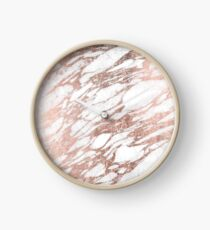 Chic Elegant White and Rose Gold Marble Pattern Clock