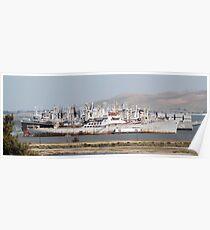 The Suisun Bay Reserve Fleet, or Mothball Fleet Poster
