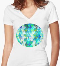 Mermaid Vibes Women's Fitted V-Neck T-Shirt