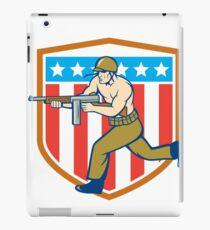 World War Two Soldier American Tommy Gun Shield iPad Case/Skin