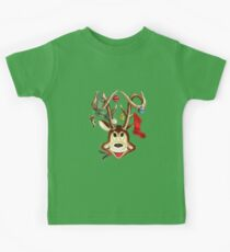 Cute Reindeer With Christmas Ornaments And Stockings On Antlers Kids Clothes