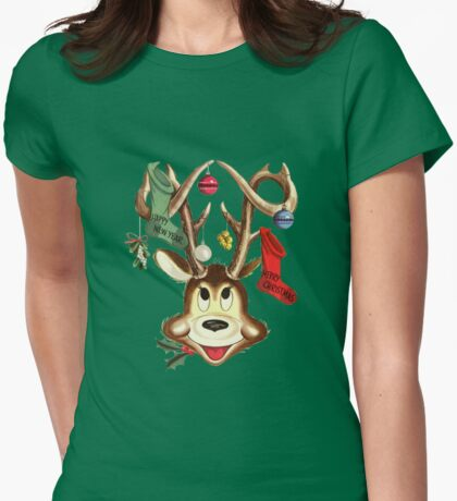 Cute Reindeer With Christmas Ornaments And Stockings On Antlers T-Shirt