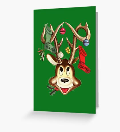 Cute Reindeer With Christmas Ornaments And Stockings On Antlers Greeting Card