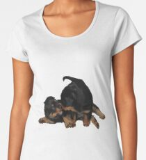 Rottweiler Puppies Playing Vector Isolated Women's Premium T-Shirt
