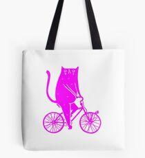 Cat On A Bike (Pink)  Tote Bag