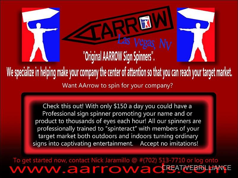 Flyer for AArrow advertising in Las Vegas by CREATiVEBRiLLiANCE