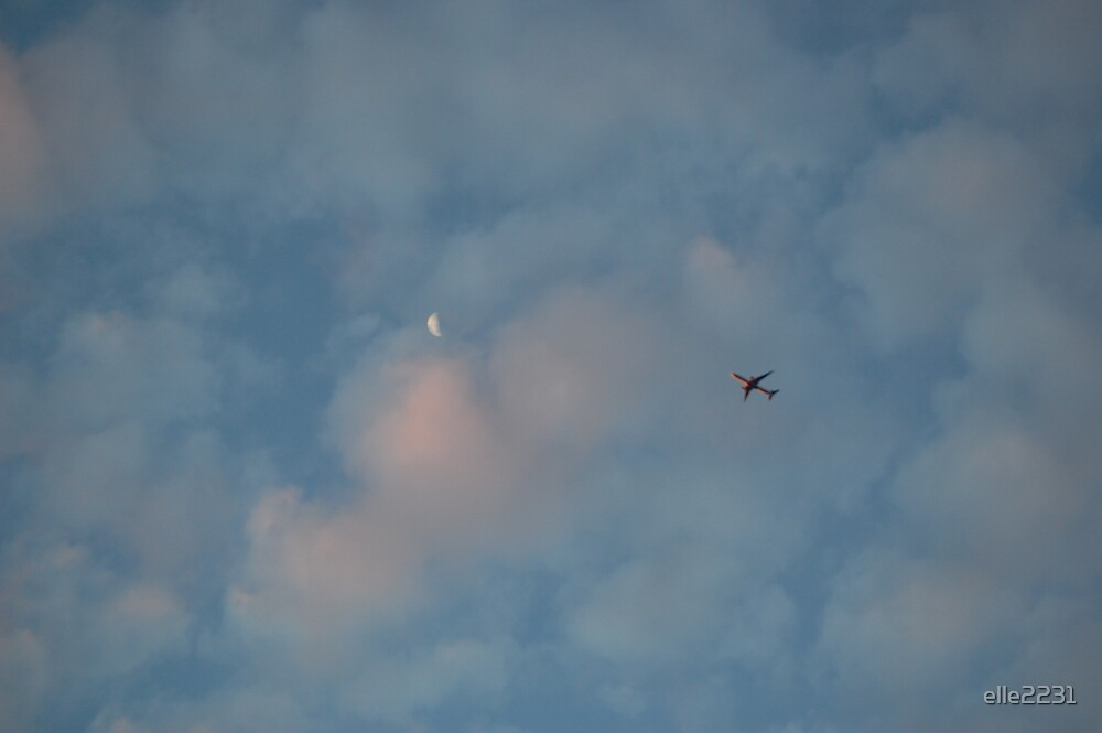 moon and a plane by elle2231