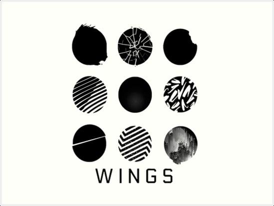bts wings logos art prints by missingyoru redbubble