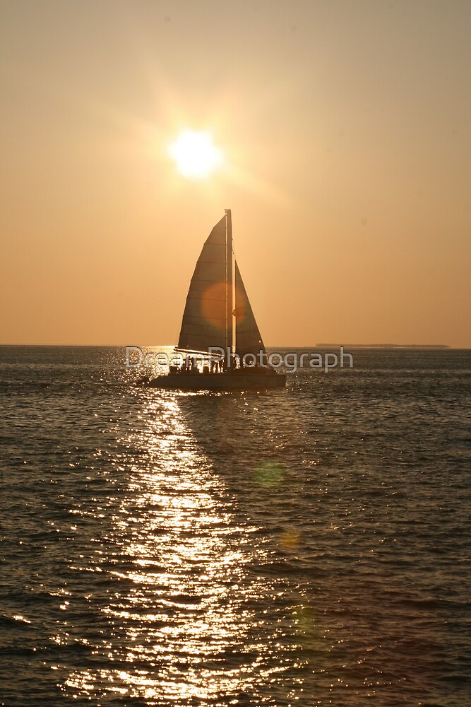 Sailboat in a Key West Sunset by DreamPhotograph