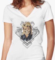 Rock Skull 80s geometric Women's Fitted V-Neck T-Shirt