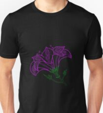 Ink dotted lily - purple and green lined version T-Shirt