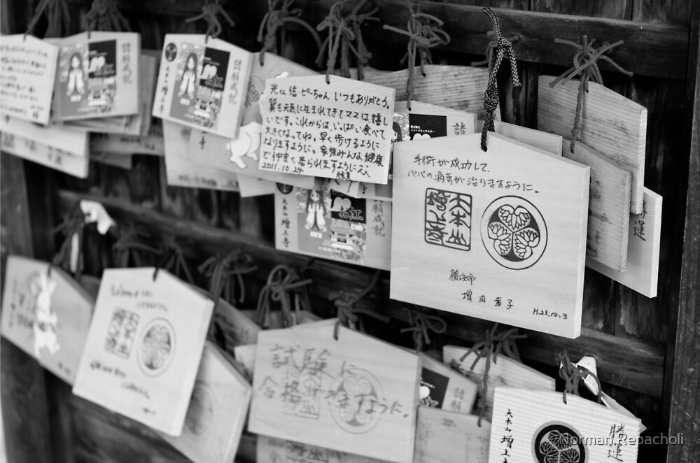 Wooden messages - Tokyo, Japan by Norman Repacholi