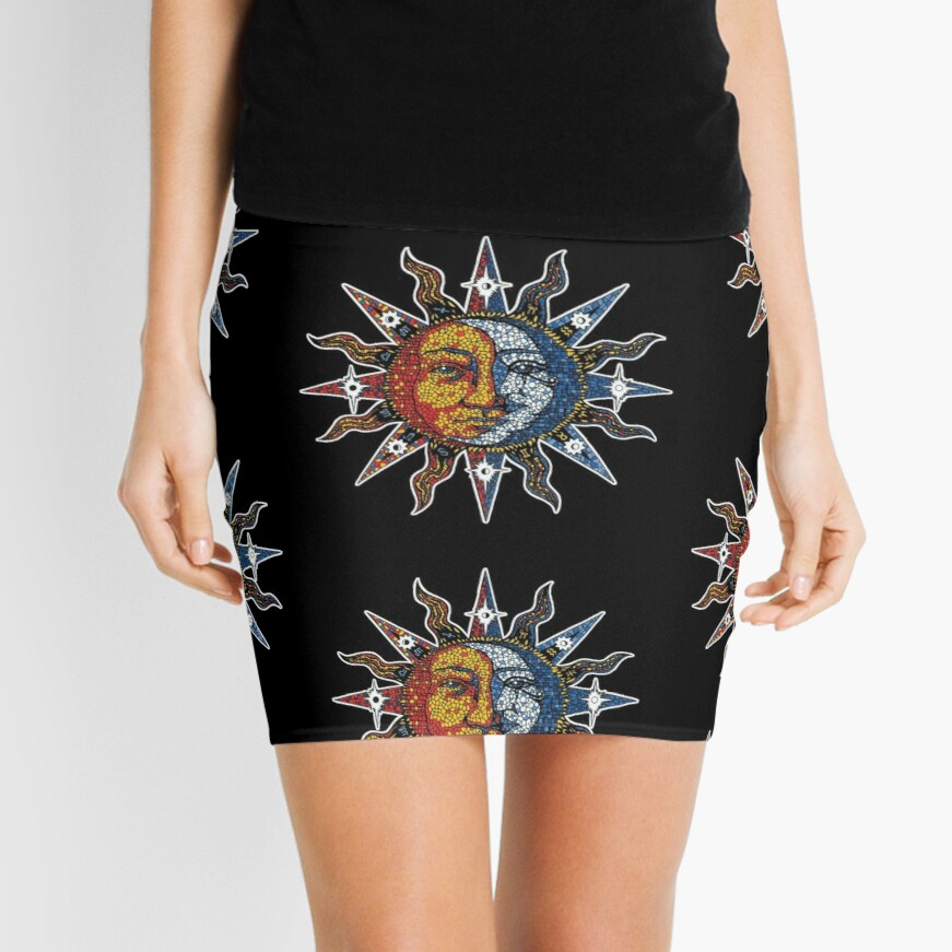 Celestial Mosaic Sun/Moon Mini Skirt