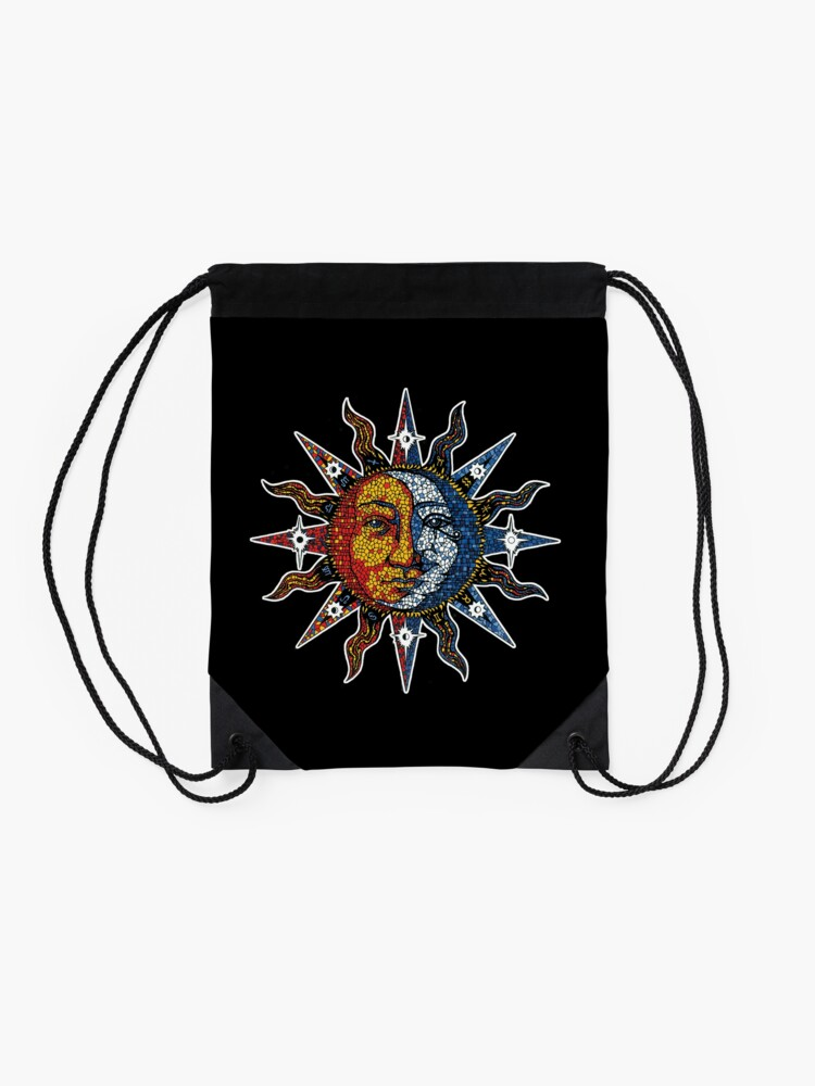 Alternate view of Celestial Mosaic Sun/Moon Drawstring Bag