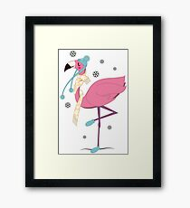 Flamingo wintering cute animal bird art Framed Print