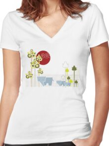 Ellephant Family In The Forest Women's Fitted V-Neck T-Shirt