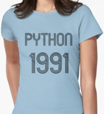 Python 1991 Year of 1st Release - Black Text Programmer Design T-Shirt