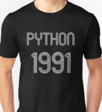 Python 1991 Year of 1st Release - White Text Programmer Design T-Shirt