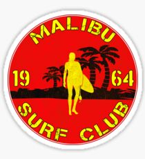 SURFING MALIBU CALIFORNIA SURF CLUB VINTAGE SURFER Sticker