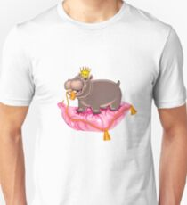 Playful Baby Hippo on a Cushion T-Shirt