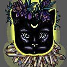 Crystal moon cat with hellebore. by resonanteye