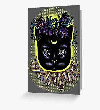 Crystal moon cat with hellebore. Greeting Card