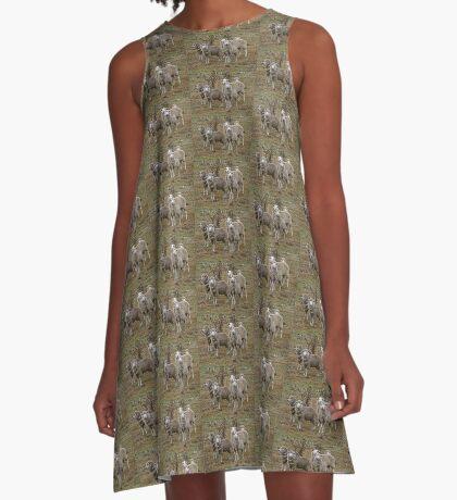 Zusammenstehen A-Linien Kleid
