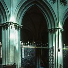 Grille and Golden Inscription about Lanfranc here 1063 Canterbury 1070 Nave of L'Abbaye aux Hommes Caen 19840819 0034  by Fred Mitchell