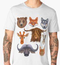 Set with animals: Yak, bear, Fox, wolf, lynx, hare, giraffe, buffalo.  Men's Premium T-Shirt