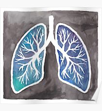 Watercolor Lungs Poster