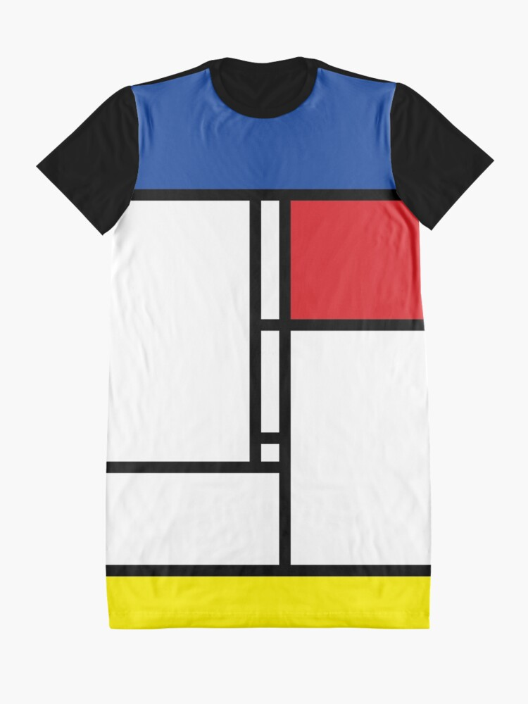 Alternate view of Mondrian Minimalist De Stijl Modern Art Graphic T-Shirt Dress