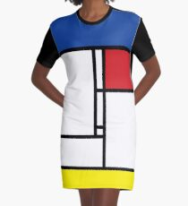 Mondrian Minimalist De Stijl Modern Art Graphic T-Shirt Dress