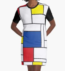 Mondrian Minimalist De Stijl Modern Art II Graphic T-Shirt Dress
