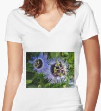 Passionflower in blue Women's Fitted V-Neck T-Shirt