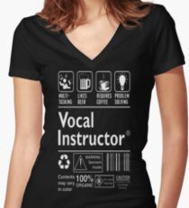 Vocal Instructor Multitasking Beer Coffee Problem  T-Shirt  Women's Fitted V-Neck T-Shirt