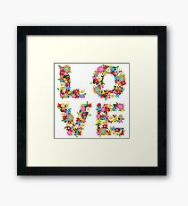 LOVE Spring Flowers in Red Framed Print